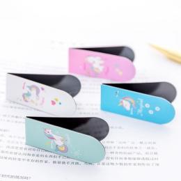 Jednorożec zakładki magnetyczne dziewczyny Kawaii zakładki do książek pliki papieru organizator biuro szkolne kreatywny biurowe
