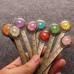 1 sztuka kreatywny Retro metalowe zakładki linijka kolorowe kwiat zakładki z szklane kamienie jak książka strona Marker szkolne