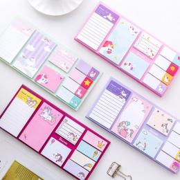 Sumikko Gurashi Memo Pad Cartoon śliczne jednorożec karteczki samoprzylepne wielu składane podkładki do pisania znak etykiety Ka