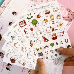 6 sztuk Molang królik kreskówka dekoracyjne naklejki naklejki na telefon komórkowy biurowe album DIY naklejki materiał Escolar K