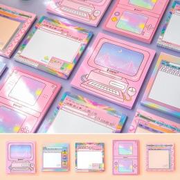 Kawaii gra komputerowa Memo Pad maszyna naklejki samoprzylepne Planner śliczne karteczki samoprzylepne notatnik szkoła artykuły