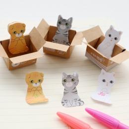 3D Kawaii kot pies pudełko naklejki Cute Cartoon koreański biurowe karteczki biurowe szkoła Memo Pad Scrapbooking