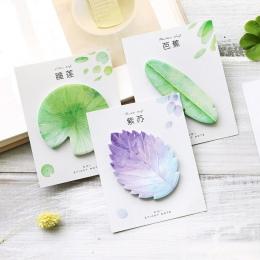 Śliczne Kawaii naturalne roślin liści Sticky Note Memo Pad uwaga papieru planowanie naklejki koreański papiernicze artykuły szko