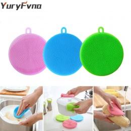YuryFvna silikonowa gąbka antybakteryjne kuchnia Scrubber warzywa owoce szczotka do czyszczenia gąbka do mycia naczyń pojemnik n