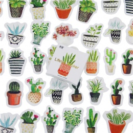 45 sztuk/partia kaktus Mini dekoracja z naklejek papierowych DIY album pamiętnik etykiety Scrapbooking naklejki Kawaii biurowe