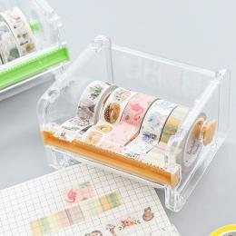Kreatywny taśmy uchwyt na papier do cięcia taśmy dozowania podręcznik taśma pudełko do przechowywania pulpit proste przezroczyst