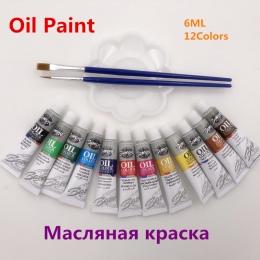 Profesjonalny olej kolory farby dobrze akcesoria do malowania 12 kolorów 6 ML rury oferta 2 szczotki i 1 paleta za darmo