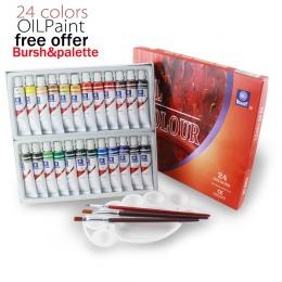 Pamięć 24 kolory 12 ML rury oleju farby zestawy profesjonalny dla dzieci rysunek narzędzia oferują pędzle do makijażu za darmo d
