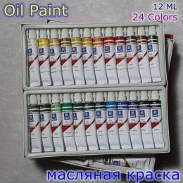 Profesjonalna marka farba olejna na płótnie Pigment Art Supplies farby akrylowe każda rura rysunek 12 ML 24 kolory zestaw