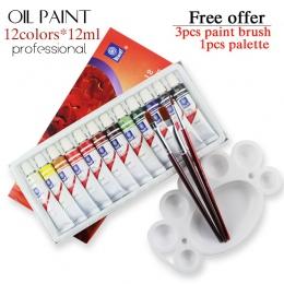 Profesjonalna marka rury oleju farby art na artystów płótno Pigment dostaw sztuki rysunek 12 ML 12 kolorów zestaw narzędzi farby