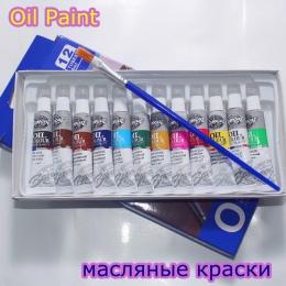 Kolory olejów farby dobrze akcesoria do malowania 12 kolorów 6 ML rury oferta 1 szczotka do za darmo