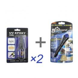 3 sztuk/zestaw Super mocny płyn UV klej epoksydowy 5 sekund naprawić światło klej guma z tworzywa sztucznego szkło Metal Craft s