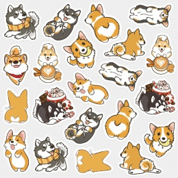 Śliczny pies dekoracji Washi naklejki Cartoon zwierząt pamiętnik papier do etykiet naklejki pakiet DIY naklejki dla dzieci preze