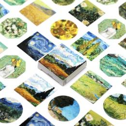 45 sztuk/paczka Kawaii śliczne Van Gogh obraz olejny wzór Decoracion Journal naklejki Scrapbooking papiernicze artykuły Student