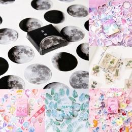 45 sztuk/pudło biurowe naklejki Vaporwave DIY Planet rolka do czyszczenia ubrań Kawaii księżyc rośliny naklejki do dekoracji pam