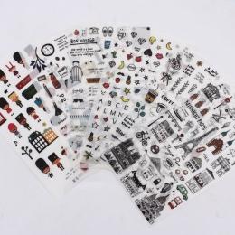 Europejski styl dzienniczek podróżny dekoracja z naklejek papierowych pamiętnik etykiety Scrapbooking naklejki Kawaii koreański