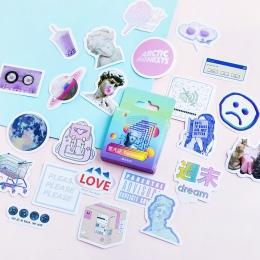 46 sztuk/pudło śliczne Vaporwave etykiety Kawaii pamiętnik Handmade papier samoprzylepny płatek japonia naklejki Scrapbooking ar
