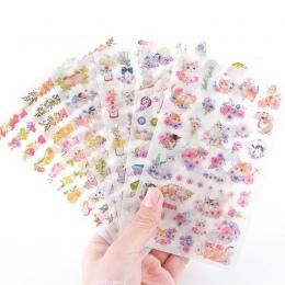 6 arkuszy DIY Kawaii naklejki kwiaty PVC jednorożec kot kreskówka naklejki papieru Scrapbooking do dekoracji Album fotograficzny