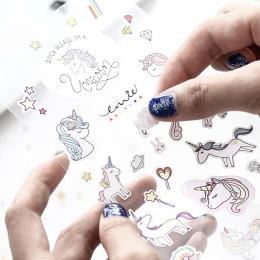 1 arkusz kreatywny śliczne jednorożec Mini dekoracja z naklejek papierowych Diy album pamiętnik etykiety Scrapbooking naklejki K