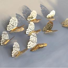 12 sztuk/partia 3D Hollow złoty srebrny motyl naklejki ścienne sztuki dekoracje domu naklejki ścienne na wesele wyświetlacz moty