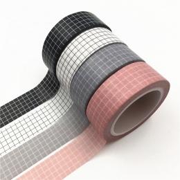 10 M czarny i biały siatki taśma Washi japoński papieru DIY planowanie maskująca taśma klejąca taśmy naklejki naklejki na słowa