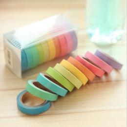 10 sztuk/partia Macarons maskująca taśma Washi zestaw DIY Craft Decor Scrapbooking taśma do pamiętnik Album papiernicze artykuły