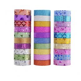 10 sztuk brokat Washi taśma papiernicza Scrapbooking klej dekoracyjny taśmy DIY kolor taśma maskująca szkolne Papeleria