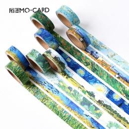 1 sztuk taśmy Washi DIY obraz Van Gogha papierowa taśma maskująca klej dekoracyjny taśmy Scrapbooking naklejki rozmiar 15mm * 7