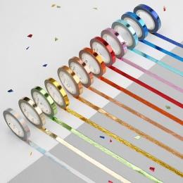 5 m * 5mm różowe złoto taśmy Washi taśmy cukierkowe kolory Glitter szczupła klej dekoracyjny taśmy maskujące do Scrapbooking Diy