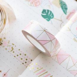Złoty różowy papier z folii taśma Washi zestaw japoński Scrapbooking taśmy dekoracyjne o strukturze plastra miodu do albumu foto