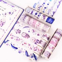 8 sztuk/partia Ocean gwiazdy Wisteria kwiatowy uroczy papier maskująca taśma Washi zestaw japoński biurowe Kawaii Scrapbooking m