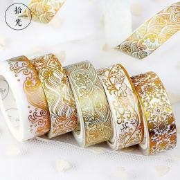 Maskująca złota folia foliowane Diy Craft Glitter żuraw papieru lepki klej Chinease wzór Washi taśmy papiernicze artykuły szkoln