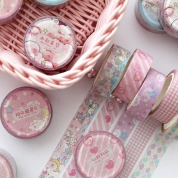 1.5 cm szerokości piękny różowy jednorożec Sky Cartoon Washi taśma klejąca taśma DIY do scrapbookingu naklejki etykiety taśma ma