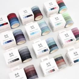 5 sztuk/partia jesień Rainbow maskująca taśma Washi zestaw do rękodzieła i scrapbookingu papier Decor japoński biurowe artykuły