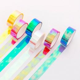 15mm * 5 m Rainbow Laser Washi taśma błyskotliwość piśmienne Scrapbooking klej dekoracyjny taśmy DIY taśma maskująca przybory sz