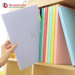Nowy 4 kolor A4 Kawaii Carpetas uśmiech wodoodporna Carpeta Folder plików 5 warstw Archivadores Anillas aktówka materiały biurow