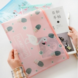 Ładny Folder plików śliczne Flamingo ptak zielony kaktus A4 torba na dokumenty torba z siatki aktówka pcv plik Folder materiały