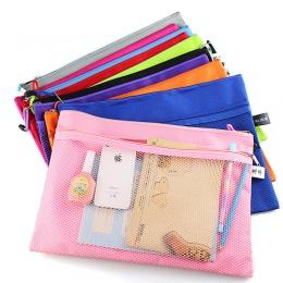 Kolorowe podwójna warstwa płótnie tkaniny zamek teczka papierowa książki piórnik na ołówki i pióra torba plik dokumentów torby d