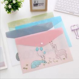 1 PC wodoodporna Multi Pocket z tworzywa sztucznego Kawaii A4 teczka na dokumenty torba na dokumenty organizator papieru poszewk