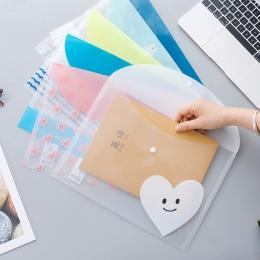 A4 4 sztuk/zestaw prosty plik przejrzyste słodkie zwierząt kieszeń PP torba na ramię do przenoszenia torba na rzeczy Folder port