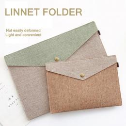 JIANWU A4 A5 prosty, ale elegancki imitacja lnu na płótnie czuł torba na dokumenty portfolio biuro studium torba biurowe folder