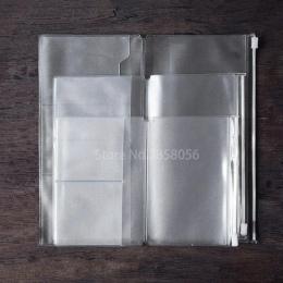 1 sztuk kieszeń na zamek błyskawiczny wkład do Travele pamiętnik etui na zamek błyskawiczny pcv jasne zestaw uzupełniający dla d