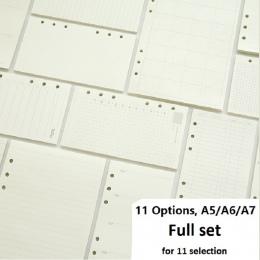 A5 A6 A7 luźne liści wkładu do notebooka spirali spoiwa planowanie strona wewnętrzna wewnątrz papieru mlecznych raz w tygodniu P