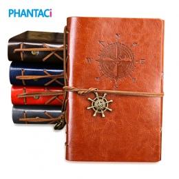 Retro Vintage notatnik w skórzanej oprawie pusty pamiętnik piratów projekt papier notatnik wymienny podróżnik notatnik piśmienne
