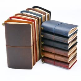 Gorąca sprzedaż 100% prawdziwej skóry Notebook ręcznie, Vintage, skóra bydlęca, notes Sketchbook Planner kup 1 dostać 11 akcesor
