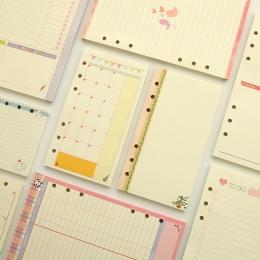 A5 A6 śliczne kolorowe Diario wkłady spoiwa wypełniacz papieru Planner organizator akcesoria papier do napełniania dla Filofax