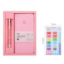 Pure Color kieszonkowy planer tygodniowy notatnik zestaw 88 arkuszy 19.1*9.8 cm DIY raz w tygodniu Plan książki prezent darmowa