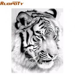 RUOPOTY ramka tygrys zwierzęta obraz DIY Numbers Wall obraz akrylowe na płótnie malarstwo dla domu dekoracje Drop Shipping