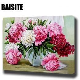 BAISITE DIY oprawione obraz olejny numerów kwiaty zdjęcia na płótnie malarstwo ścienne do salonu ozdoby do dekoracji wnętrz E781