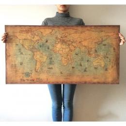 Morskie oceanu morze mapa świata Retro stare sztuki papieru malowanie Home Decor plakat na ścianie obrazy na ścianę do salonu pl